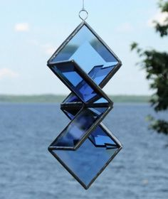 3D Blue Beveled Glass Star Sculpture Indoor by SNLCreations, $35.00
