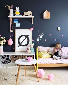 Navy blue, yellow and white little girls room with pops of pink