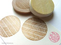geometric rubber stamp. circle rubber stamp. herringbone stamp. hand carved rubber stamp. mounted.