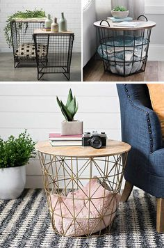Accent Tables by Kirkland's – The Caged Accent Tables (top left), The Industrial Basket Table (top right), The Large Metallic Basket Table (bottom) __ 10 Blanket Storage Ideas For Your Home Wire Storage, Table Storage, Coffee Table With Storage, Storage Ideas, Blanket Basket, Diy Blanket Ladder, Blanket Storage, Home Office Storage, Living Room Storage