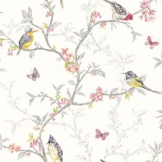 This Stunning Phoebe Birds Wallpaper In Soft Teal Would Look Fantastic As A Feature Wall Or When Used To Decorate Whole Room