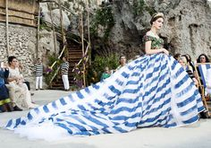 Royal queen ball-gown in blue striped summer print at Dolce and Gabbana Alta Moda Fall Winter 2014