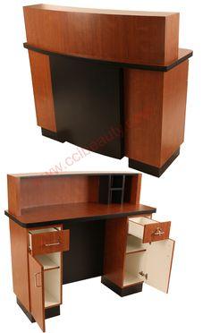 Reception Desk CC-8003-BlossomCherrywood #receptiondesk #frontdesk #salon #spa #dayspa #barbershop #barber