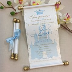 Cinderella inspired Birthday Scroll Invitation in Blue and Gold - Simply Fab Chic Invitations Quinceanera, Cinderella Quinceanera Themes, Cinderella Theme, Tea Party Invitations, Cinderella Birthday, Cinderella Wedding, Quinceanera Party, Quinceanera Dresses, Cinderella Invitations