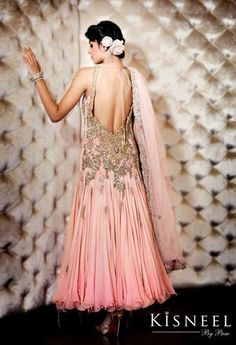 pink swaorvski anarkali, bling anarkali,Kisneel by Pam Bridal Collection