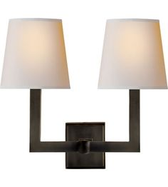 Hey Look What I found at Lighting New York Visual Comfort E. Chapman Square Tube 2 Light 15 inch Hand-Rubbed Antique Brass Decorative Wall Light in Natural Paper Wall Sconce Lighting, Home Lighting, Wall Sconces, Kitchen Lighting, Luxury Lighting, Lighting Ideas, Attic Renovation, Attic Remodel, Bath Remodel