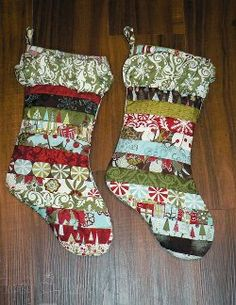 striped ruffled quilted christmas stockings