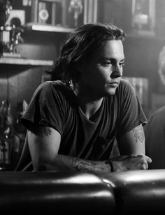 Johnny Depp, male actor, young, sexy guy, long hair style, tattoos, body art, celeb, famous, portrait, photo b/w.