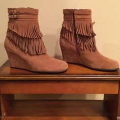 Size 8.5 Tan Suede Ankle Fringe Aerosol Boots. Size 8.5, Tan, Authentic Suede, Ankle, Fringe, Boots by Aerosoles. Worn once. Almost New. No issues. AEROSOLES Shoes Ankle Boots & Booties
