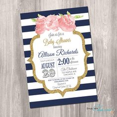 Baby shower invitation, navy stripes, pink and navy baby shower invite, roses, gold glitter, digital, Printable Invitation