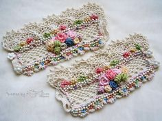 Crochet cuff bracelets A Pair of cuffs by KSZCrochetTreasures