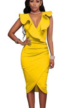 Deep V-neck Ruffles Irregular Pure Color Knee-length Dress. Spandex DressParty  Dresses For WomenSummer ... 119cc7be3