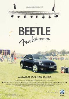 66 years of rock, now rolling // Ad for: Volkswagen Beetle - Fender Edition