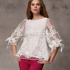 Women's Lantern Sleeve Blouse – Solid Colored Bow Mesh Free & Fast Shipping Expected Delivery days Secured Payment Information Easy Returns Over Millions Of Customers Trusted around the World Cheap Womens Tops, Casual Tops For Women, Blouses For Women, Blouse Styles, Blouse Designs, African Fashion Dresses, Fashion Outfits, Fancy Tops, Loose Shirts