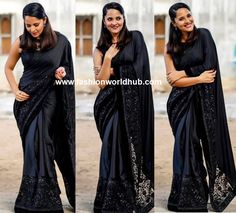Anasuya Bharadwaj for the recent Jabardast TV Show she was snapped in beautiful jet black saree that has designer border with a black sequin embellished paired with sheer net high neck blouse. Pinned back hair and pink lips rounded her look.