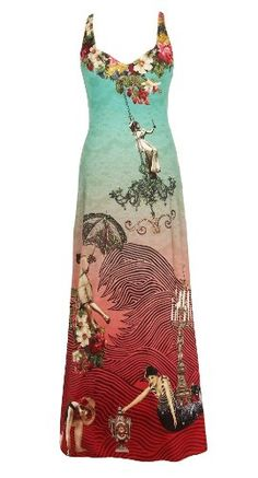 $727 Fabulous Gradient Red Blue Empire Sweetheart Neckline Dress by Michal Negrin Made of Printed Lycra Finished with Swarovski Crystals and Gold Merrow Edge Finish Accented Authentic Graphics; Handmade in Israel - Size SFrom Michal Negrin $727