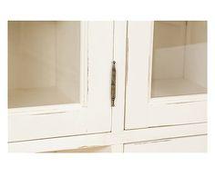 Credenza in massello di tiglio con vetrinetta Elise - 156x200x50 cm