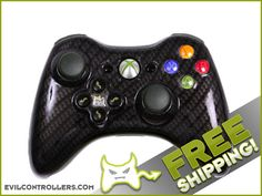 Black Gold Carbon Fiber Custom Xbox 360 Controller with Evil D-Pad - Brand New