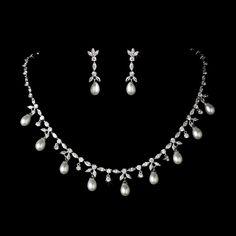Cubic Zirconia Pearl Jewelry Set N-3842 & E-3891