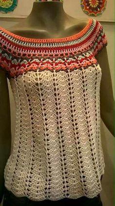 Crochet Summer Knitting Models, # crochetwraps # summerblackgodmodels # summerblackwinter models, we have prepared a very nice gallery. Beautiful knitting pattern consisting of summer knitting patterns. T-shirt Au Crochet, Beau Crochet, Pull Crochet, Gilet Crochet, Mode Crochet, Crochet Shirt, Crochet Woman, Irish Crochet, Crochet Crafts