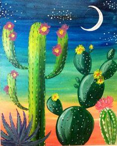 Cactus Painting, Cactus Art, Diy Painting, Back Painting, Mexican Paintings, Mexican Artwork, Cute Canvas Paintings, Desert Art, Southwest Art
