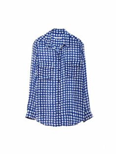 EQUIPMENT SIGNATURE SHIRT in Nautical Blue Archive Crowed Dot Print