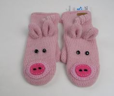 Knitwits DeLux Mittens New Pink Pig Piggy Wool Animal Gloves, Adult size, Unisex - Gloves & Mittens