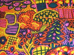 "Rare Vintage 1972 Marimekko ""Eve"" Fabric from Finland designed by Katsuji Wakisaka"