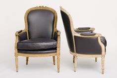 Pair 19th Century French Louis XVI style bergere chairs newly upholstered  in lambskin leather.  28w x 28d x 40h
