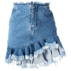 Marques'almeida ruffled denim skirt ($465) ❤ liked on Polyvore featuring skirts, blue, blue skirt, flouncy skirt, frilled skirt, ruffled denim skirt and frilly skirts