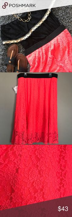 2xl Lola Neon Coral skirt This skirt is beautiful! The lace is super soft❤️❤️  skirt can be worn high on waist or at waist. LuLaRoe Skirts Midi