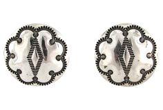 Stamped Navajo Silver Button Earrings on OneKingsLane.com