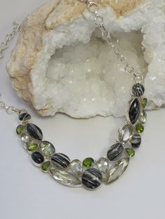 ~ Zebra Jasper, Peridot and Green Amethyst Gemstones Necklace ~ andreajayecollection.com