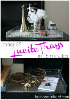 Had no clue it was so easy (and CHEAP!) to make your own lucite (acrylic) trays! DIY Lucite Trays {Under $5 in 15 minutes} via RainonaTinRoof.com