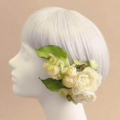 凛とした曲線の美しさが魅力のカラーをメインに、大中小、さまざまな大きさでご用意した、5パーツのヘアピックタイプの髪飾りセットです。緑 グリーン カラー ラナンキュラス 髪飾り5本セット/アーティフィシャルフラワー(造花)