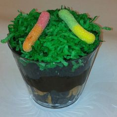 Edible Soil  This activity is a terrific way to teach kids about the layers of soil.   1) bedrock layer - various colors of chocolate chips 2) subsoil layer - chocolate pudding 3) topsoil layer - crushed chocolate cream Oreos with green coconut and gummy worms on top  For a class of 22, I needed 2 packages of Oreos, 3 large boxes of instant pudding, a half gallon of milk, 2 bags of chocolate chips, 1 small bag of butterscotch chips, 1 bag of coconut, and 1 bag of gummy worms. Use green food c...