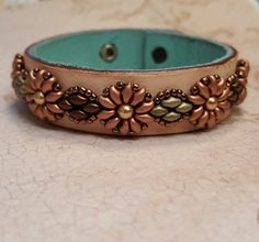 Leather Cuff Bracelet With Beaded Flowers And Leaves by SpinPlanet