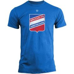 76ae39278 Mens Brooklyn Americans Old Time Hockey Royal Blue Briggs Distressed Logo T- Shirt