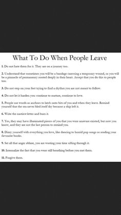 What To Do When People Leave