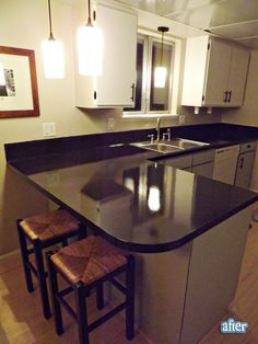 2 coats paint + 3 coats hi traffic poly = gorgeous $50 countertops!