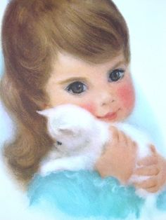 ❤️Cute White Kittens ~ Little Girl with Kitten Lithograph 1959  by GoodlookinVintage