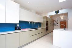 Open plan two tone kitchen