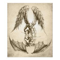 Angels and Demons - Reflection Poster Beeindruckende Tattoos, Taurus Tattoos, Back Tattoos, Tattoo Drawings, Body Art Tattoos, Future Tattoos, Demon Drawings, Tatoos, Half Sleeve Tattoos For Guys
