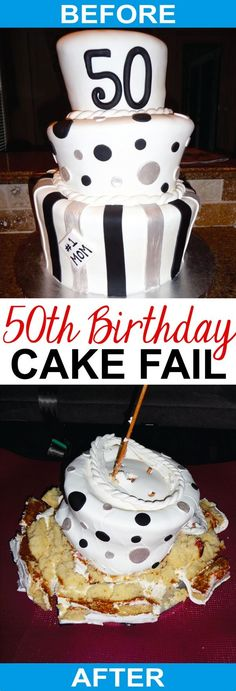 21+ Awesome Picture of Cakes For 50Th Birthday Cakes For 50Th Birthday 50th Birthday Cake Fail Mom Loves Baking  #DiyBirthdayCake Funny 50th Birthday Cakes, Moms 50th Birthday, 50th Cake, Diy Birthday Cake, Baking Fails, Foundant, Cake Stock, Birthday Cake With Photo, Cake Wrecks