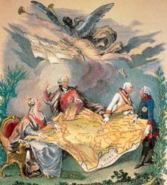 Alegoria I rozbioru Polski, kolorowana rycina z 1773 r. (drugi z lewej król Stanisław August Poniatowski)