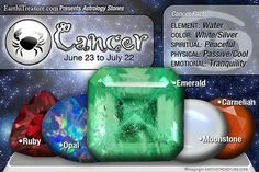 Cancer ~ Stones: Ruby, Opal, Emerald, Moonstone, Carnelian. Element: Water, Color: White/Silver, Spiritual: Peaceful, Physical: Passive/Cool, Emotional: Tranquility ♥♥