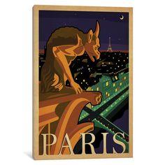"""East Urban Home World Travel Collection: Paris, France (Notre-Dame de Paris Chimera) Vintage Advertisement on Wrapped Canvas Size: 26"""" H x 18"""" W x ..."""