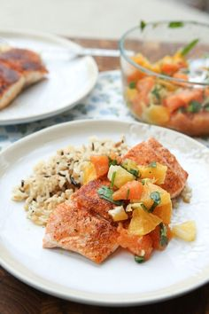 Pan Seared Blackened Salmon with Citrus Salsa from @aggieskitchen