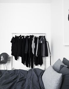 Via Pia Ulin for Elle Decoration | Black Grey White Bedroom