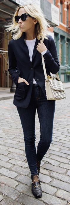 Jacey Duprie + blazer + fabulous alternative + leather jacket + simple denim jeans + cross body bag + loafers + Jacey's awesome style.  Blazer: Rag & Bone, Loafers: Gucci Horsebit.